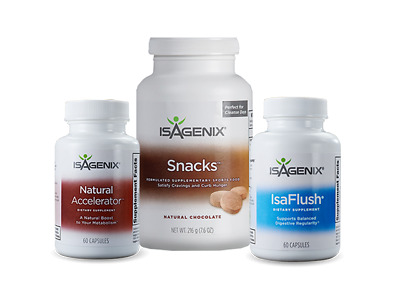 Isagenix Cleanse Support Bundle - Natural Accelerator, IsaFlush, & Snacks - NEW