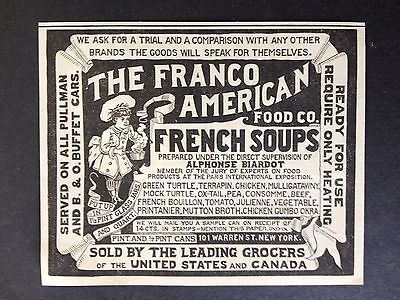 Antique 1888 Ad (1800-11)~Franco American Food Co. French Soups. Warren St. Nyc