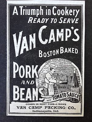 Antique 1896 Ad (1800-5)~Van Camp's Boston Baked Pork And Beans