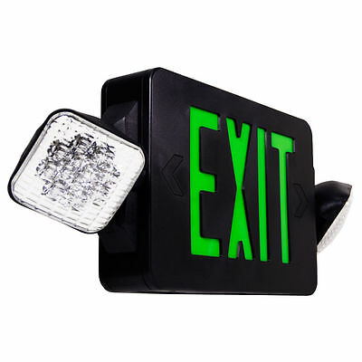LED Exit Sign & Emergency Light – Green Sign Black Body Compact Combo UL