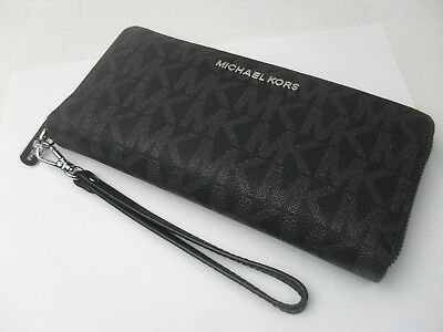 NEW Michael Kors Black PVC MK Signature Jet Set Zip Around Wallet Wristlet