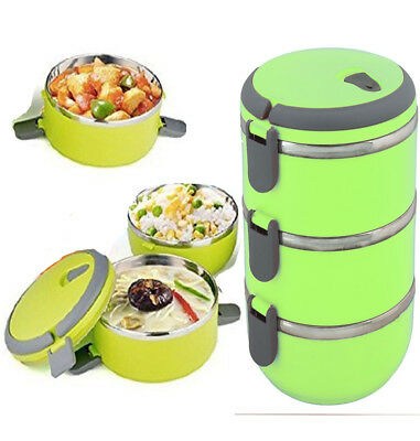 3 Layer Tier Stainless Steel Thermal Insulated Stackable Lunch Box Bento Food