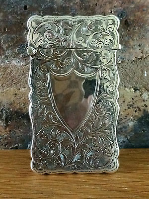 Super Silver 1912 Engine Turned Floral Scroll Card Case by Joseph Gloster Ltd