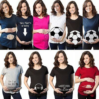 Pregnant Women Cartoon Letter T-shirt Funny Print Maternity Nursing Casual Top