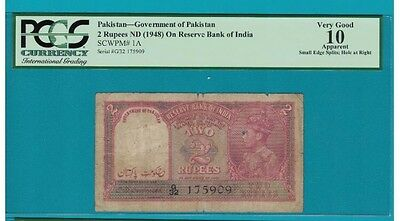 ~RARE~ BRITISH INDIA RS 2 Rs PCGS 10 Over Print Pak VERY Fine : Rare : Pick 1A