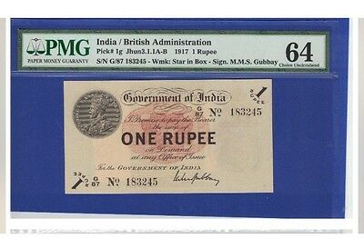 INDIA -P-1 :1Rs KGV ND(1917 About UNCIRCULATED :( Rare)Pmg :64
