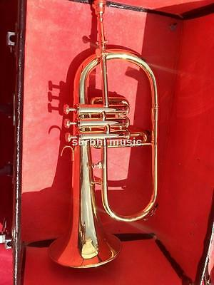 FlugelHorn 3 Valve Made of Brass in Golden Lacquer  With Free Case Box & Mouthpc