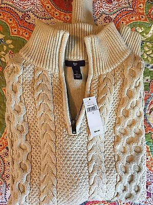 Gap Mens Half Zip Cotton Cable knit Pullover Sweater Size Large NWT