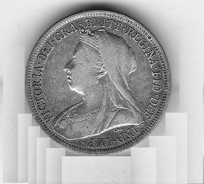 EARLY  STRIKE 1895   Queen  Victoria  Sterling  Silver  Shilling  British Coin