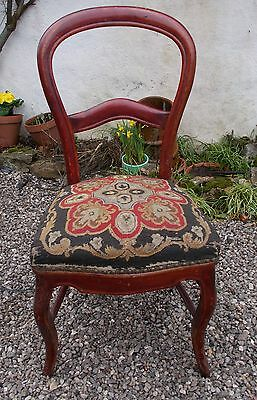 chair, antique French chair, balloon backed tapestry chair,