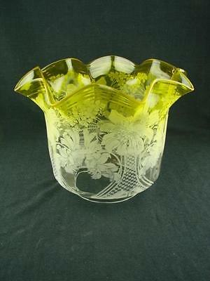 """Victorian Acid Yellow Beautifully Etched Glass Tulip Oil Lamp Shade 4"""" Fitter"""