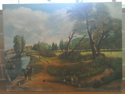 Beautiful oil on canvas painting of John Constables Flat ford Mill