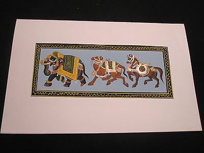 Vintage India Painting on Silk of Elephant, Camel & Horse Absolutely Beautiful