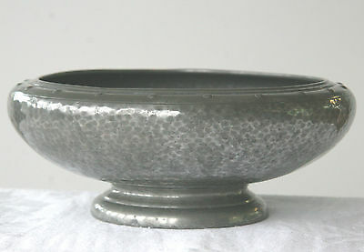 Vintage W & Co hammered pewter footed bowl 1930's