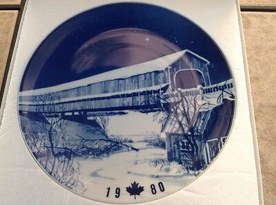 """Christmas Collector Plate """"The Covered Bridge at Hartland"""" 1980  Limited Edition"""
