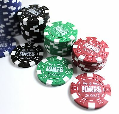 Personalised Poker Chips Genuine Casino Wedding Favours DecoratIon Table gift