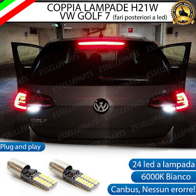 Lampade Retromarcia 24 Led H21W Bay9S Canbus Vw Golf 7 Vii 6000K Per Fari A Led