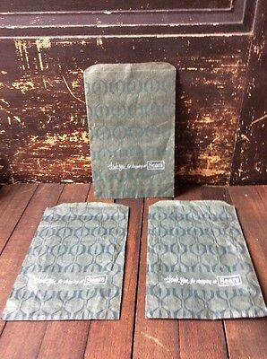 3 VINTAGE 1950s - 1960s SEARS DEPARTMENT STORE Small Green PAPER BAGS Groovy