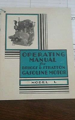 Briggs & Stratton  Operating Manual & Parts List MODEL L great condition