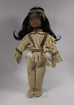 """Collectible NATIVE AMERICAN INDIAN Porcelain Girl Doll 16"""""""