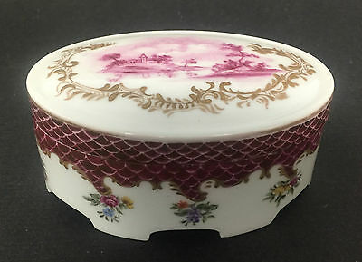 Antique Rosenthal Germany Oval Covered Trinket Box Dated 1914