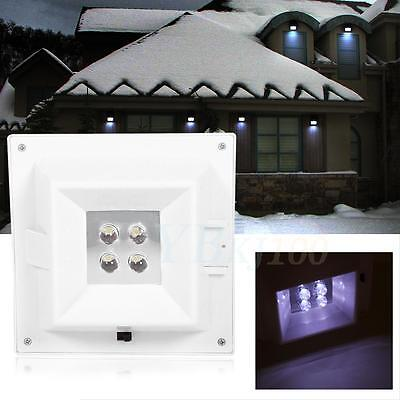 Solar Powered 4 LED Outdoor Wall Light Garden Yard Stairs Fence Lamps Waterproof