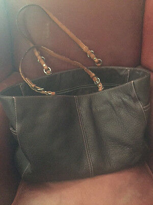 Large Brown leather Coach tote or diaper bag with pink stitching