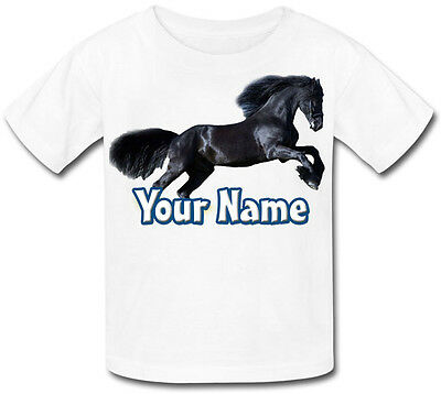 Personalised Black Pony / Horse Baby /  Kids T-Shirt - Great Gift & Named Too