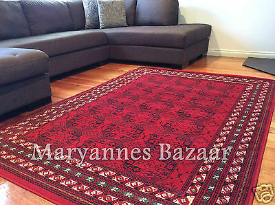 Extra Large Floor Rug Red Green Black Carpet FREE DELIVERY