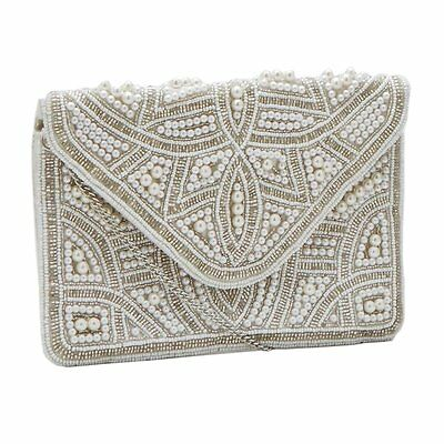 Ivory Cream Pearl Beaded Clutch Bag Wedding Prom Party Ladies Handbag BNWT