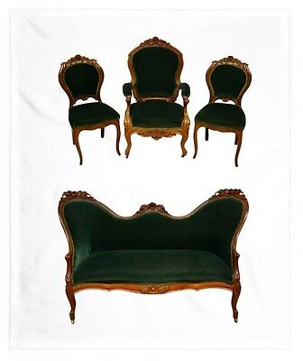 Antique Victorian Walnut 4 PC Parlor Set Settee Arm Chair 2 Side Chairs Green