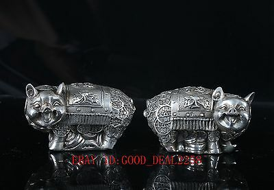 Old Silve Copper Hand Carved / A pair of pigs Statue With Qing Qian Long Mark