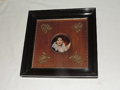 Antique Enamel Plaque by F. J. Carmona Victorian Lady Framed Art (g144)