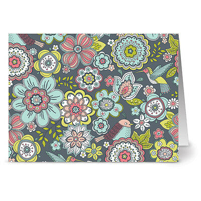 24 Note Cards Birdies and Blossoms Yellow Envs