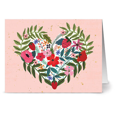 24 Note Cards Red Envs Foraged Heart