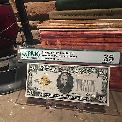 Fr.2402* 1928 $20 GOLD certificate, PMG VF35!!! EXTREMELY RARE STAR NOTE!! WOW!!
