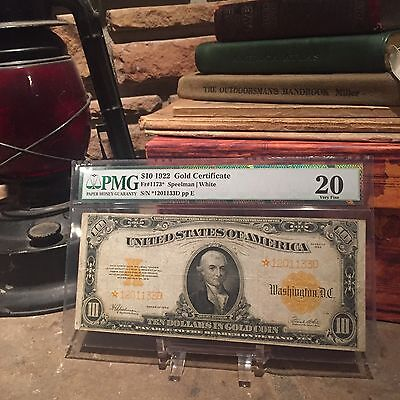 Fr.1173* 1922 $10 GOLD certificate, PMG VF20, STAR NOTE!!! SUPER RARE!! WOW!!
