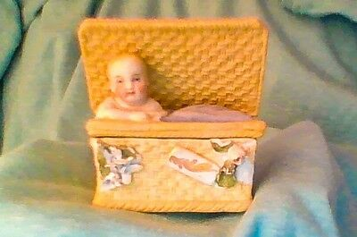 Antique Victorian FAIRING BOX Bisque Basket With Baby Germany #3007