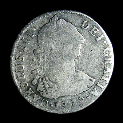 1779 PTS PR Bolivia 2 Reales silver coin KM# 53 Spanish Colonial Potosi Mint