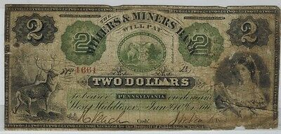 West Middlesex Pennsylvania  MILLERS & MINERS BANK $2 Obsolete Note RARE