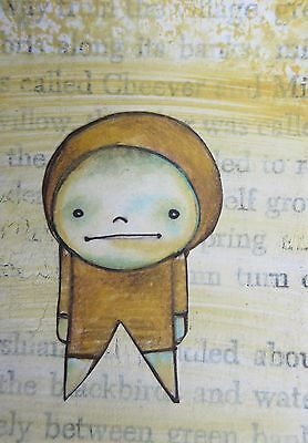 ACEO Original Collage Mixed Media Original Drawing Recycled Art Outsider Art