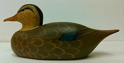 VTG 1978 Hand Painted Carved Wood Duck Decoy Cabin Study Decor