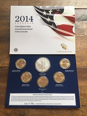 2014 United States Mint Annual Uncirculated Dollar Coin Set (6 Coin Set)