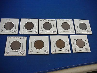 9) 1938-1947 Canadian coins, One cent, NEWFOUNDLAND LOT