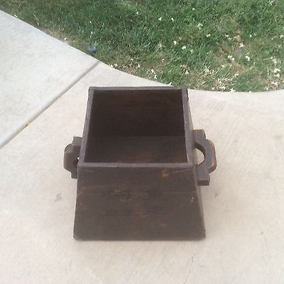 Rustic Asian wooden square box crate bucket with handles unique