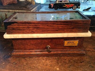 Henry TROEMNER ? Apothecary Pharmacy Scale Oak & Glass Casing
