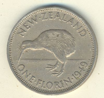 1949 New Zealand Florin, Higher Grade, Nice Old XF Detailed Coin