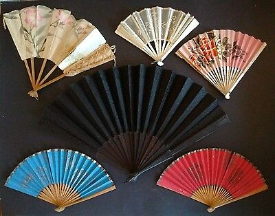 6 Vintage ANTIQUE HAND FANS Silk PAPER Mourning HAND-PAINTED Voile Wedding AS-IS
