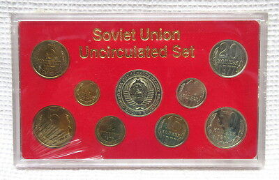 1977 Soviet Union Uncirculated Kopek Rouble Last Coins Set of 9 in Case