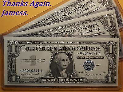(#334) 3 Consecutive Uncirculated 1957 A *Star* Blue Seal Silver Certificates